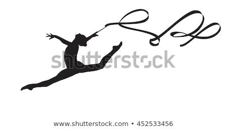Stock fotó: Lány · gyakorol · ritmikus · tornász · előad · szalag