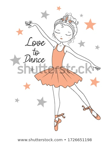 Stock fotó: Illusztráció · aranyos · ballerina · szárnyak · tánc · virág