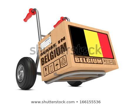 Made in Belgium - Cardboard Box on Hand Truck. Stock photo © tashatuvango