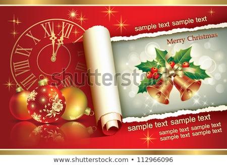 Karácsonyi üdvözlet kettő gömbök fehér narancs kék Stock fotó © oly5