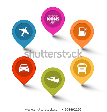 set of round flat transport pointers stock photo © orson