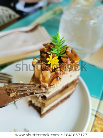 Chill time with iced coffee and chocolate cake  Stock photo © nalinratphi