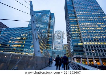 Futurisztikus pénzügyi negyed modern építészet üzlet égbolt ablak Stock fotó © gemenacom