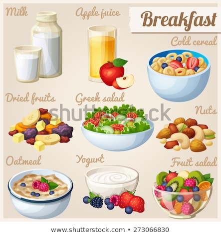 Breakfast cereal with milk and apple juice Stock photo © raphotos