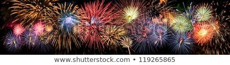 Tűzijáték panorámakép kilátás panoráma kicsi város Stock fotó © hraska