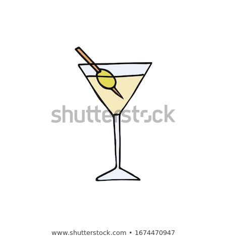 Esboço martini glass oliva vintage estilo vetor Foto stock © kali