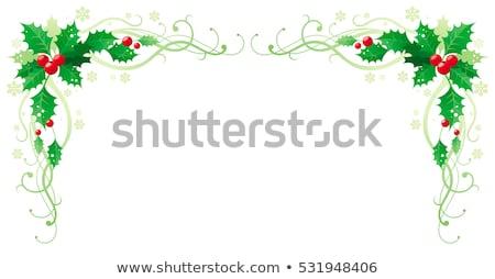 Karácsony keret szalagok virágmintás kép illusztráció Stock fotó © Irisangel