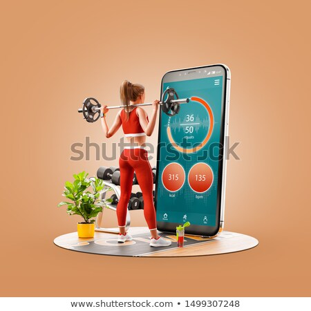 3d woman doing exercise with dumbells concept Stock photo © nithin_abraham