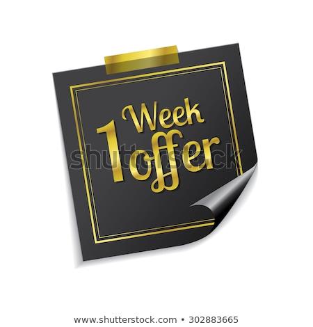 Week deal gouden sticky notes vector icon Stockfoto © rizwanali3d