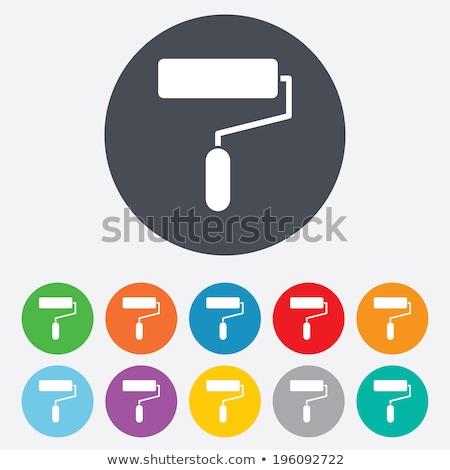 Penseel groene vector icon knop internet Stockfoto © rizwanali3d