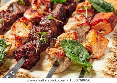 Сток-фото: куриные · древесины · обеда · растительное · барбекю