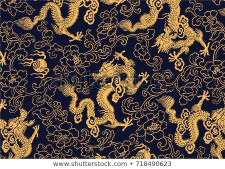 Or dragon résumé plafond temple cadre Photo stock © hlehnerer