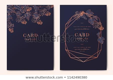 Blau Blumen Jahrgang Hochzeitseinladung Karte Hochzeit Stock foto © Morphart