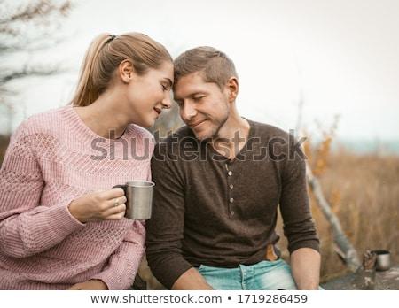 счастливым нежный пару глядя другой Сток-фото © deandrobot