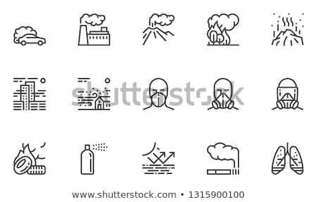 Gaz maskesi hat ikon köşeler web hareketli Stok fotoğraf © RAStudio