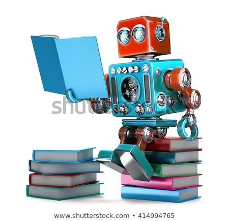 Retro robot lettura libri isolato illustrazione 3d Foto d'archivio © Kirill_M