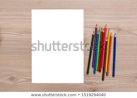 Branco folha papel lápis tabela madeira Foto stock © dmitroza