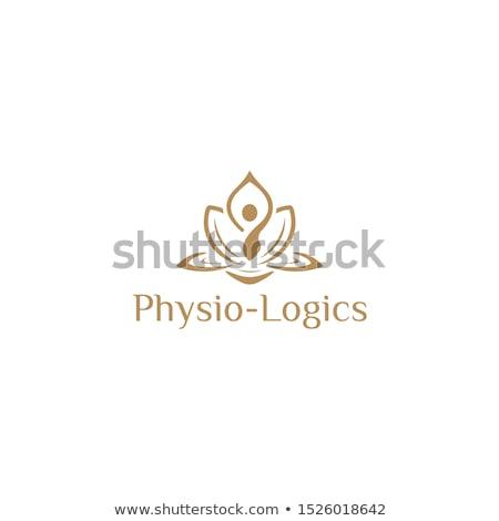 Yoga Poses and lotus logo.  Stock photo © Margolana