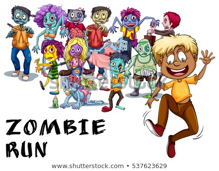 Many zombies chasing human Stock photo © bluering
