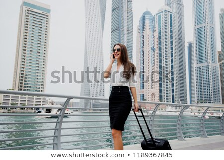 business woman in skirt walking with her suitcase stock photo © deandrobot
