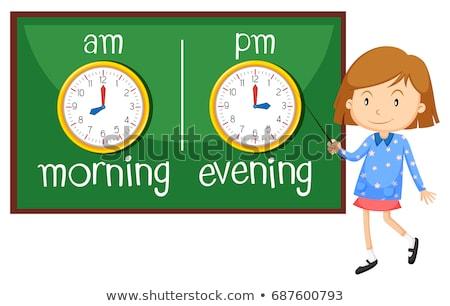 Contrario mattina sera illustrazione ragazza bambino Foto d'archivio © bluering