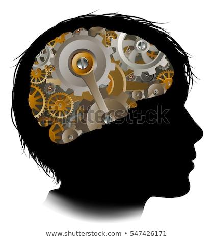 Macchina attrezzi cervello bambino silhouette Foto d'archivio © Krisdog