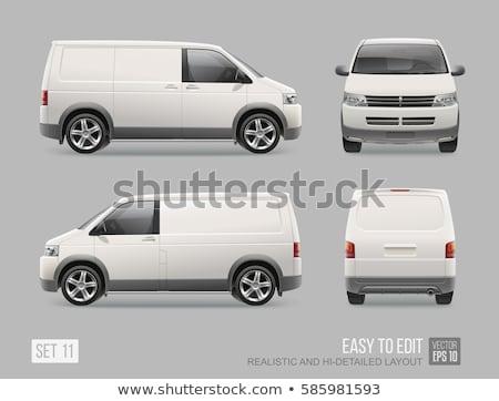 régi · autó · mini · furgon · hippi · nyom · rajz - stock fotó © genestro