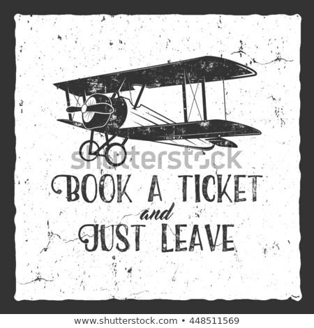 vintage · projektu · retro · plakat · samolot · etykiety - zdjęcia stock © jeksongraphics