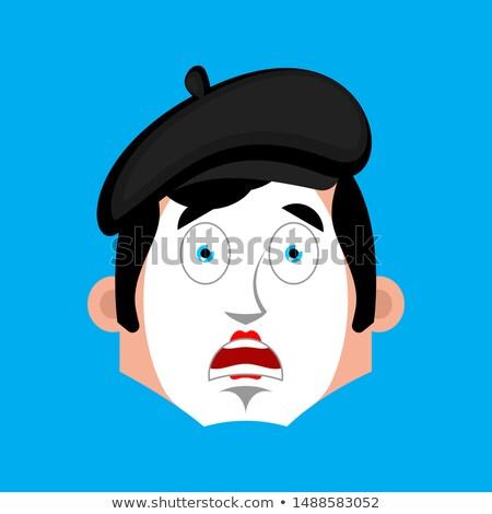 Mime Surprised emotion face avatar. pantomime open-eyed emoji. m Stock photo © popaukropa
