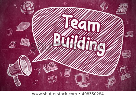 Team Building - Doodle Illustration on Red Chalkboard. Stock photo © tashatuvango