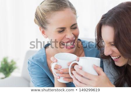 Femenino amigos té salón casa casa Foto stock © wavebreak_media
