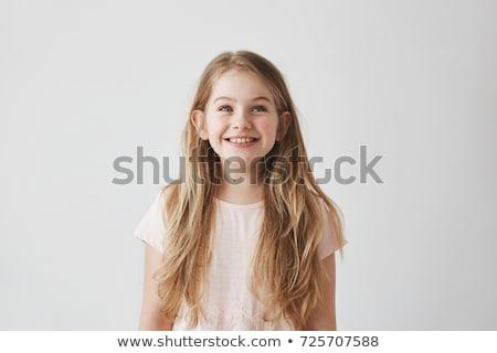 Portré elégedett aranyos kicsi gyerek mutat Stock fotó © deandrobot