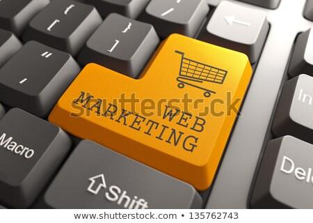 Marketing diensten toetsenbord 3D geschreven Stockfoto © tashatuvango