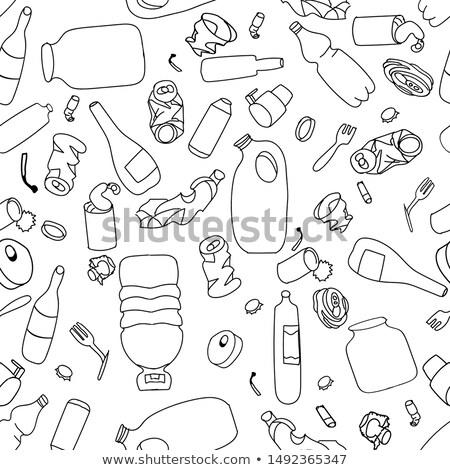 Szemét vektor végtelen minta konzervdoboz étel technológia Stock fotó © popaukropa