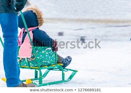 Chłopca przyjaciela sanki śniegu zimą Zdjęcia stock © IS2