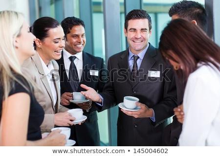 Indian zakenlieden koffie vergadering kantoor bebaarde Stockfoto © studioworkstock