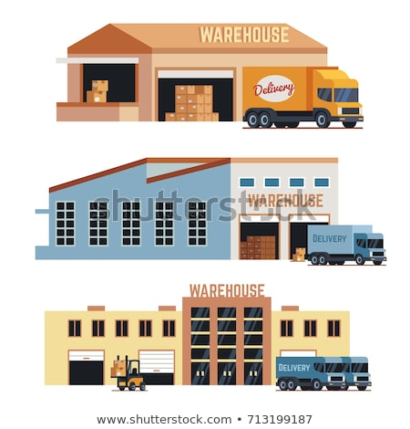 Modern storehouse building facade isolated icon Stock photo © studioworkstock
