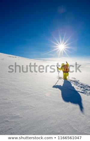 High altitude mountain explorer walking through deep snow Stock photo © lightpoet