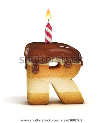 Letter r verjaardag doopvont brief kaars verjaardag Stockfoto © popaukropa