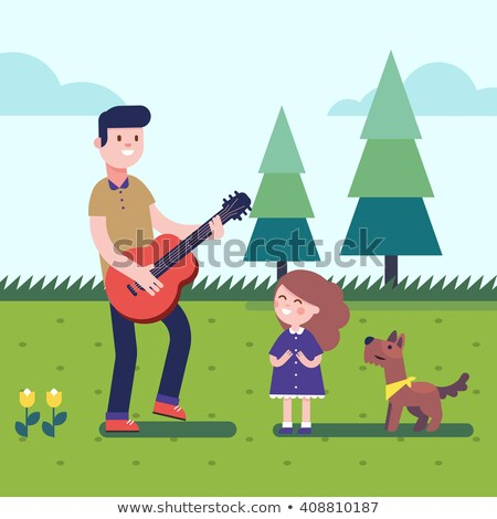Father Plays The Guitar For Children Vector. Isolated Illustration Stock photo © pikepicture