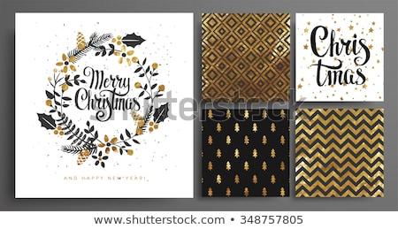 Merry Christmas gold boho greeting card set Stock photo © cienpies