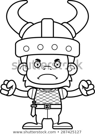 Cartoon Angry Viking Orangutan Stock photo © cthoman