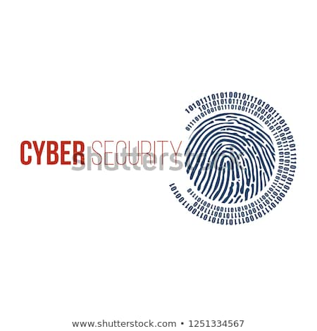 Digital fingerprint and binary one and zero digits in circle around it. cyber security concept. digi Stock photo © kyryloff