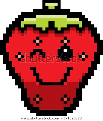 Winking 8-Bit Cartoon Strawberry Stock photo © cthoman