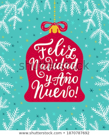 Red christmas ball banner in spanish language Stock photo © cienpies