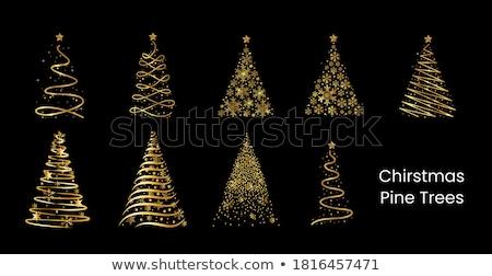 Noël or glitter arbre de pin carte de vœux joyeux Photo stock © cienpies