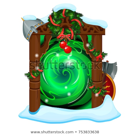 opened portal with wooden frame decorated with christmas and new year baubles isolated on white back stock photo © lady-luck