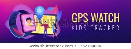 Gps crianças bandeira pais olhando Foto stock © RAStudio