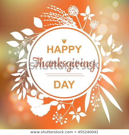 happy thanksgiving day poster round frame leaves stock photo © robuart