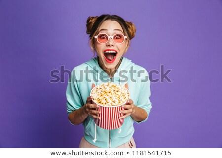 Kép boldog fiatal nő 20-as évek tart vödör Stock fotó © deandrobot